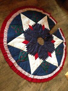 Vintage Quilted Christmas Tree Skirt