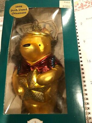 POOH DISNEY--WINNIE THE POOH--GLASS  ANGEL ORNAMENT  CHRISTMAS BALL - DATED 1998 Winnie The Pooh Ball