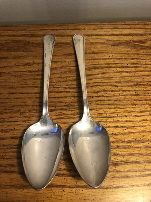 """TWO VINTAGE BOSS HOTELS SPOON SPOONS 8.5"""" MARKED NICE RARE"""