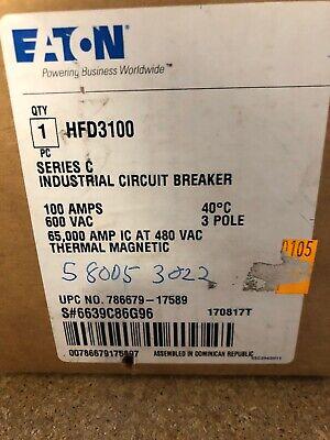 Eaton Cutler Hammer Hfd3100 3p 600v 100 Amp 65k 480 Circuit Breaker New In Box