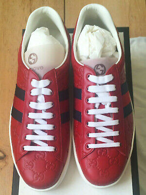 BNWB GUCCI Mens Red Logo Ace Leather Embossed Sneaker Shoes UK 9 /US 10/ EU 43