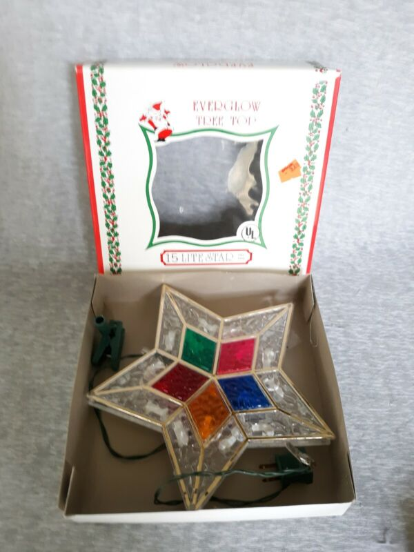 Vintage Christmas Lighted Star Stain Glass Style