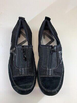 ANNE KLEIN Women's Black Sport Suede Zipper Front Flats Cushion Sole Size 6