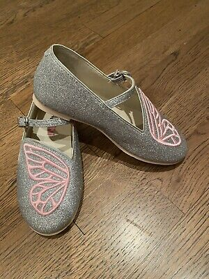 New SOPHIA WEBSTER MINI Girl Silver Butterfly Embroidered Ballerinas Size 29 12