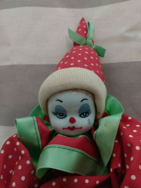 """Porcelain Christmas Clown Doll 10"""" Red/Green Vintage"""