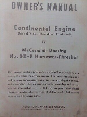 Continental Y-69 Mccormick Deering Harvester Thresher Engine Owner Parts Manual