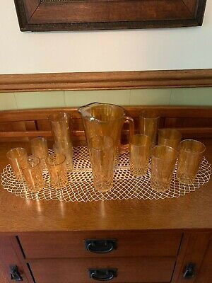 Vintage Carnival beverage Glass Pitcher & Glasses.  - Carnival Beverage