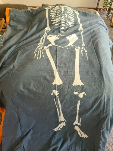 IKEA Twin Size Benrangel Blue Skeleton Duvet Cover W/orange Stripe - $19.99