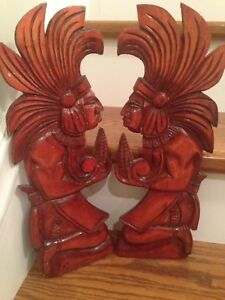 Hand carved Wood Indians (2) - Made in Nicaragua