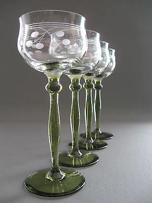 """Vier sehr schöne original """"Art Deco"""" Jugendstil Weingläser um 1910"""