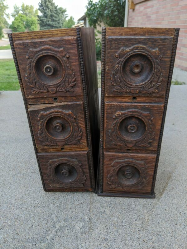 Antique Wood Singer Treadle Sewing Machine Wood Cabinet 6 Drawers & Frame