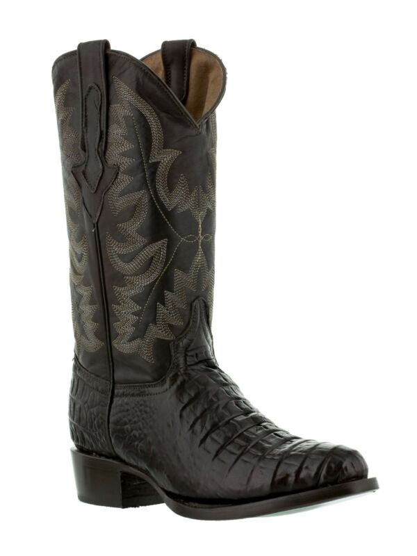 Mens, Brown, Genuine, Leather, Exotic, Crocodile, Alligator, Belly, Cowboy, Boots
