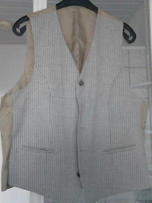 Gilet de costume beige à motif écossais taille 48