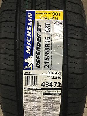 4 New 215 65 16 Michelin Defender Xt Tires