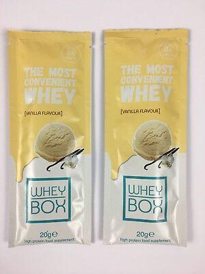 WHEY BOX Vanilla Flavour High Protein Food Supplement Sachet 2 x