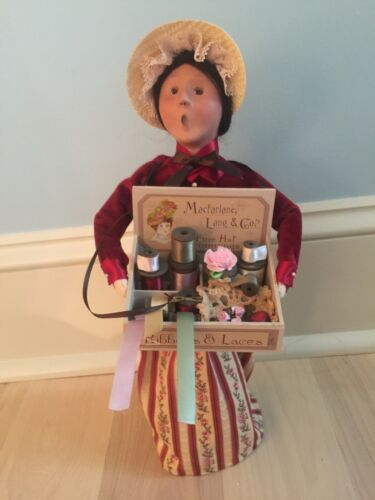 """Byers Choice Cries of London Caroler - 14"""" Woman Selling Ribbons & Lace"""