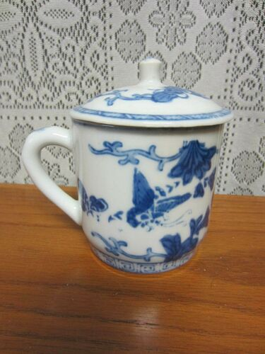 VINTAGE HAND PAINTED CHINESE PORCELAIN TEA CUP MUG WITH LID~BUTTERFLY DESIGN