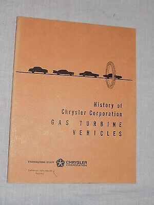Vintage Original History of Chrysler Corp Gas Turbine Vehicles FREE SHIPPING