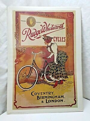 RARE IMAGE! Vintage Italian RUDGE WHITWORTH BICYCLE POSTER Grafiche Recordi Deco