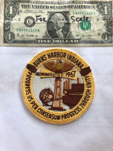 Very Rare Burns Harbor Indiana Police Patch Pre-sewn good-Great shape