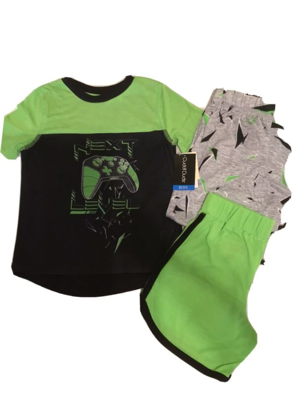 CUDDLE DUDS Boy's S 6/7  Next Level Gamer 3 Piece Pajama Set Pants Shorts NWT!