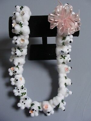 Hawaiian White Teddy Bear Pom Pom Lei Graduation Gift maile asst flowers (Maile Lei)