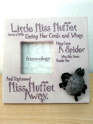 LITTLE MISS MUFFET Lavender Picture Frame Frameology Spider Nursery Rhyme 3x3