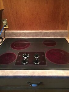 Black cooktop and black wall oven