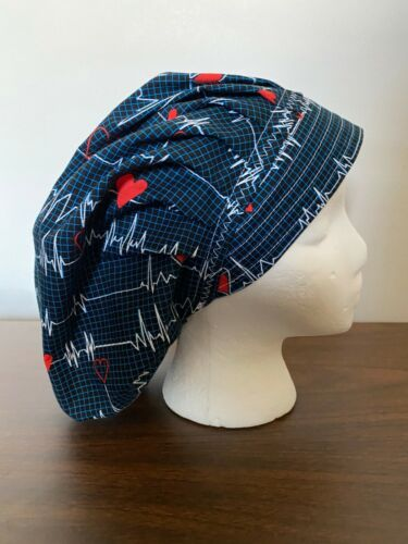CARDIAC HEARTBEAT BOUFFANT SURGICAL NURSES SCRUB HAT BOUFFANT,CHEMO, TECH