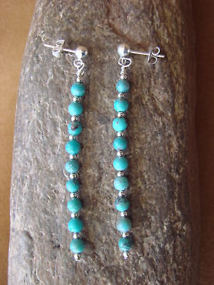 Native American Navajo Jewelry Hand Beaded Turquoise Post Earrings