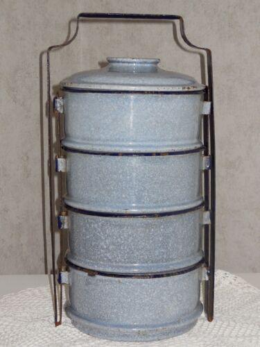 Antique 4 Compartment Enameled Lunch Box - Authentic graniteware signed PORTO