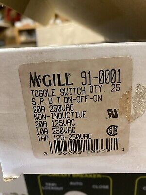 Mcgill 91-0001 Spdt On-off-on 20a 125 Vac Toggle Switch Box Of 25