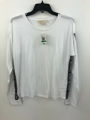 Michael Kors T-Shirt Womens Large White Crew Spell Out Long Sleeve NWD B38-05
