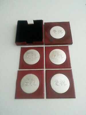 Lot Of 4 Red Leather and silver plated coasters For Home (Leather Home Plate Coasters)