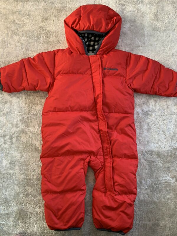 COLUMBIA Snowsuit Bunting Baby 6-12 mo Red Buffalo Check Fleece Omni- Shield EUC