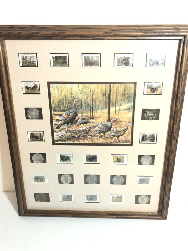 National Wild Turkey Federation NWTF 2002-2009 Stamp Coin Collection Framed