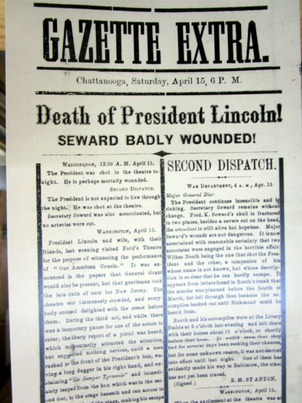 1865 Tennessee newspaper broadside extra Reprint ASSASSINATION o ABRAHAM LINCOLN