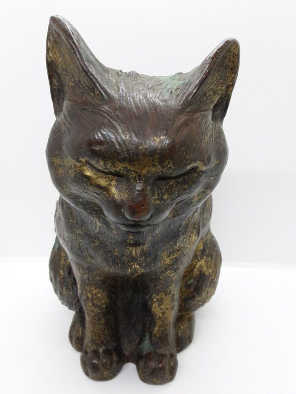 Antique Gilt Bronze Japanese Meiji Hirado Cat Sculpture