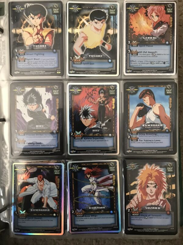 Yu Yu Hakusho TCG Trading Card Game ~200 Collection Lot Multiple Sheets Of Cards