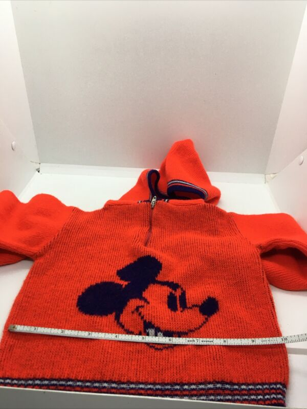 Rare Mickey mouse vintage baby sweater with hoodie Red/white/blue