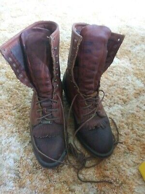 Men's Double H 9 inch work boots in brownand black  leather. Size 9.5D
