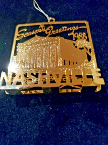 Vintage 1988 Nashville Parthenon Ornament Gold Castner Knott Seasons Greetings