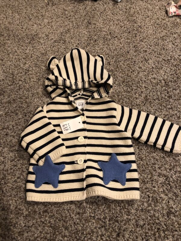 0 3 M BABY Gap NWT Sweater Blue Stripe Good Bear Stars Buttons Newborn