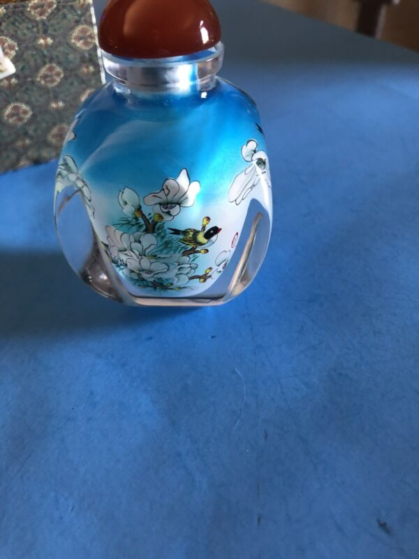 VINTAGE INSIDE PAINTED CHINESE SNUFF BOTTLE BIRDS SIGNED