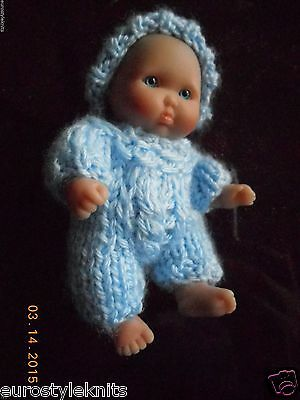 """Doll Clothes blue Hand Knitted Outfit for Berenguer ooak Baby Boy 5"""" 6"""""""