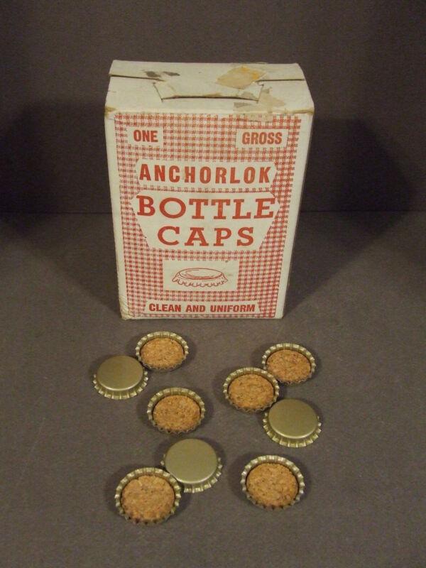 BOX OF VINTAGE ANCHORLOK BOTTLE CAPS CORK LINED FOR SODA, VINEGAR, CATSUP