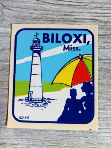 VINTAGE IMPKO BILOXI MISSISSIPPI LIGHTHOUSE DECAL STICKER WINDOW TRAVEL BEACH