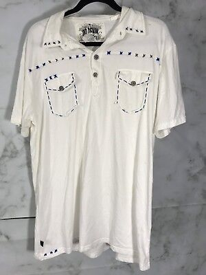 Do Denim Mens Size XL White Embroidered Polo Shirt Short Slv Casual Wear Cotton  Denim Embroidered Polo Shirt