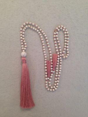 Hand Knotted Long Boho IVORY/CREAM Stone Bead Tassel Necklace.Rose Gold/Blue