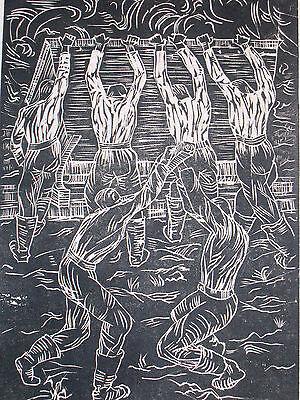 Hellmut Steinebach 1916-1942 Düsseldorf / Linolschnitt Arbeiter des RAD um 1935